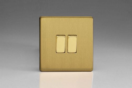Varilight XEB2S Euro Brushed Brass 2 Gang 10A 1 or 2 Way Rocker Light Switch